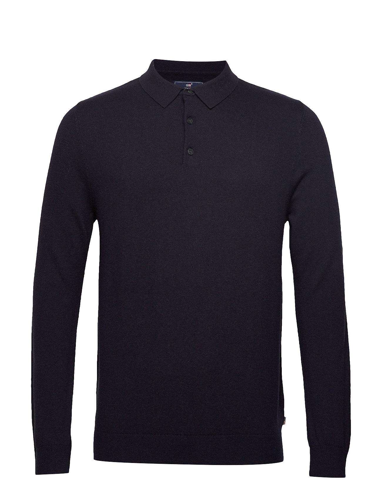 Lexington Clothing Riley Knitted Long Sleeve Polo - DARK BLUE