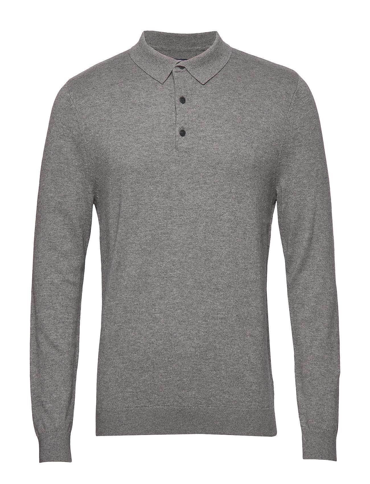 Lexington Clothing Riley Knitted Long Sleeve Polo - GRAY MELANGE