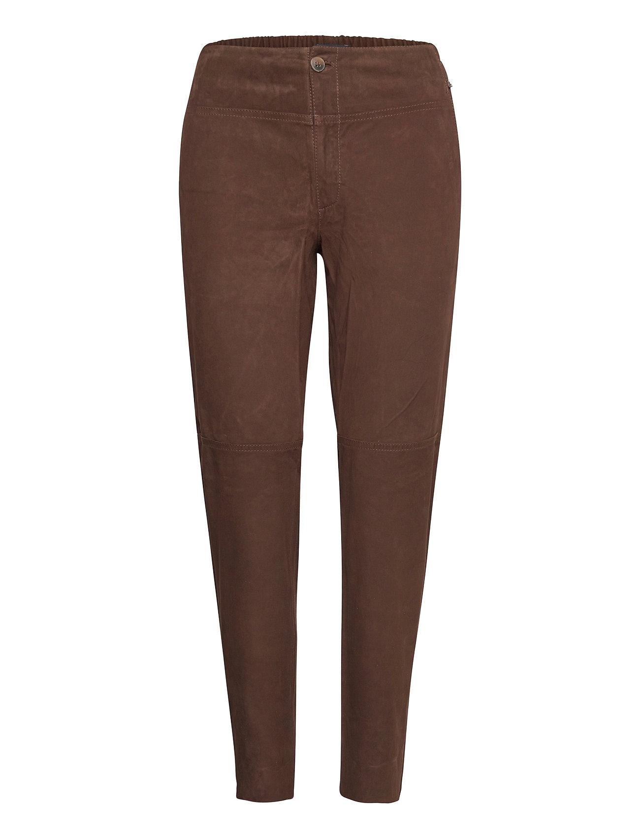 Olivia Suede Pants Leather Leggings/Bukser Brun Lexington Clothing
