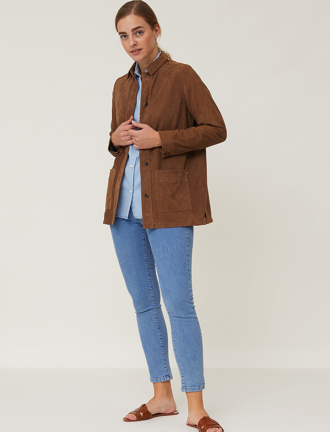Lexington Clothing - Kathy Suede Worker Shirt - overshirts - brown - 0