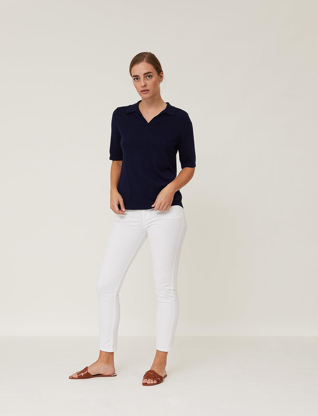 Lexington Clothing - Amilia Cotton/Silk Blend Short Sleeve Knitted Polo - polohemden - dark blue - 0