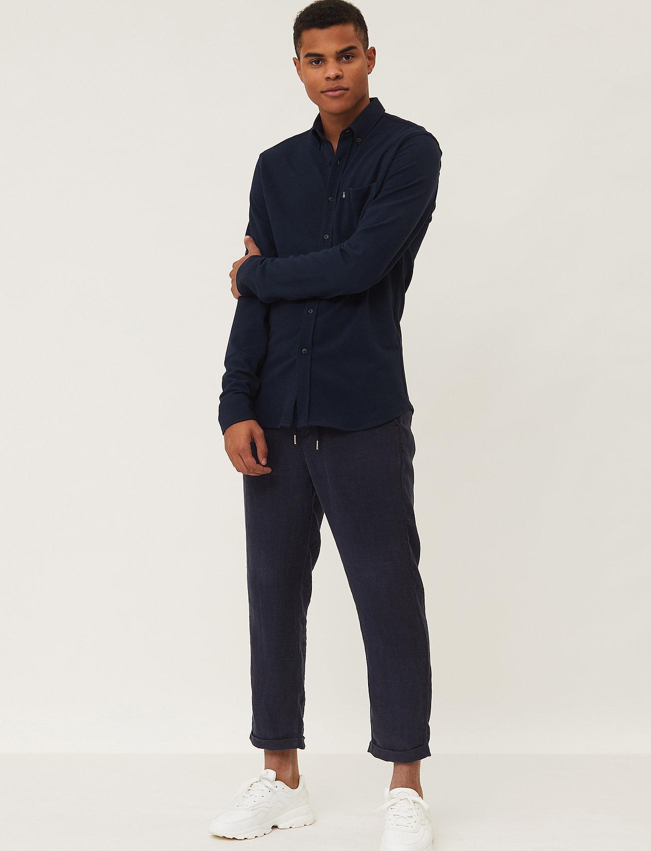 Lexington Clothing - Brett Organic Cotton Pique Shirt - geruite overhemden - dark blue - 0