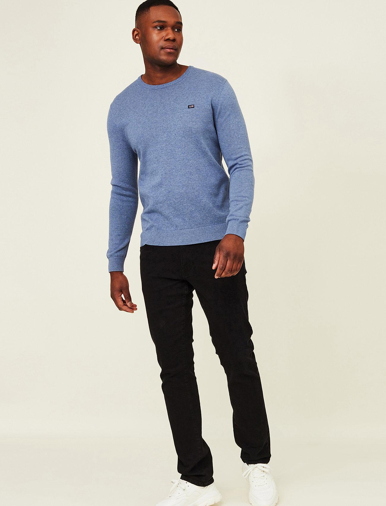 Lexington Clothing - Bradley Organic Cotton Crew Neck Sweater - basic gebreide truien - blue melange - 0