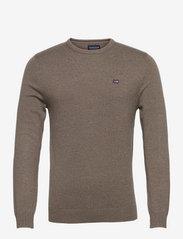 Bradley Organic Cotton Crew Neck Sweater - BROWN MELANGE