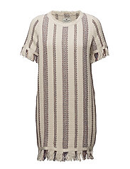 Baha Woven Fringe Dress - MULTI STRIPE