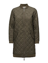 Liv Quilted Long Jacket - Hunter Green
