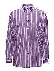 Edith Poplin Shirt - Lilac/White Stripe