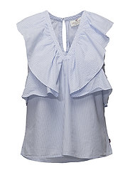 Elmira Poplin Top - Blue/White Stripe