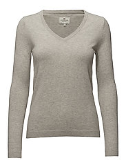Madaleine V-neck Sweater - Lt Warm Gray Mel