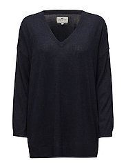 Ana Cotton Bamboo V-neck Sweater - Deepest Blue