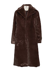 Brooke Faux Fur Coat - COFFEE BEAN BROWN