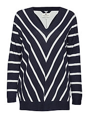 Cele V-neck Sweater - BLUE/WHITE STRIPE