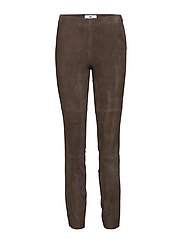 Jackie Suede Stretch Pants - DARK BROWN