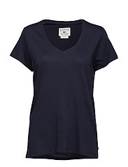 Becka V-neck Tee - DEEP MARINE BLUE