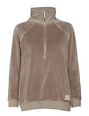 Vanna Velour Zip Sweater - BEIGE MELANGE