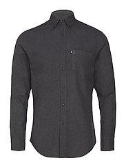 Peter Lt Flannel Shirt - DARK GRAY MELANGE