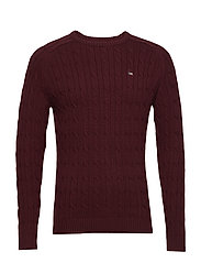 Andrew Cotton Cable Sweater - BURGUNDY WINE