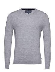 Ian Merino V-Neck Sweater - LT WARM GRAY MELANGE