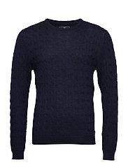 Dominic Merino Cable Sweater - DEEP MARINE BLUE