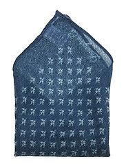 Dunsley Wool Handkerchief - INDIGO WITH PRINT