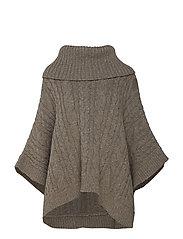 Laurel Knitted Poncho - BROWN MELANGE