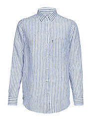 Isa Linen Shirt - MEDIUM BLUE/WHITE STRIPE