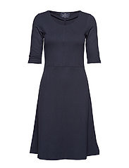 Scarlett U-neck Dress - NAVY BLUE