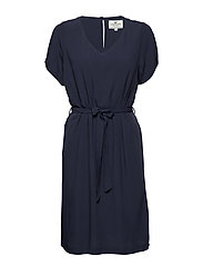 Kristina Solid Dress - NAVY BLUE