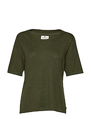 Amber Cotton Bamboo Tee - BURNT OLIVE