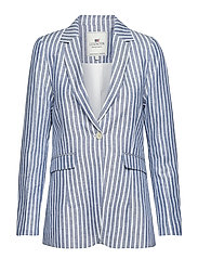 Frida Linen Blazer - BLUE/WHITE STRIPE