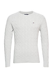 Andrew Cotton Cable Sweater - LT WARM GRAY MELANGE