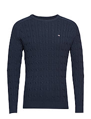 Andrew Cotton Cable Sweater - NAVY BLUE