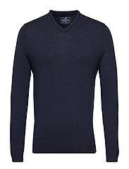 Ian Merino V-Neck Sweater - DEEP MARINE BLUE