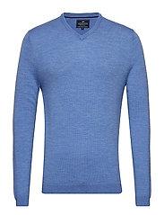 Ian Merino V-Neck Sweater - LIGHT BLUE MELANGE
