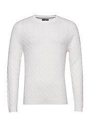 Dominic Cable Merino Sweater - SHELL WHITE