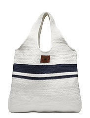 Natalie Woven Bag - WHITE/BLUE STRIPE