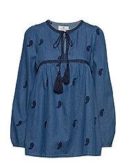 Freya Embroidery Blouse - MEDIUM BLUE DENIM