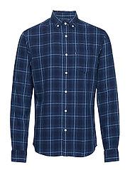 Clive Checked Shirt - BLUE INDIGO CHECK