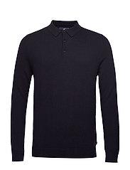 Riley Knitted Long Sleeve Polo - DARK BLUE