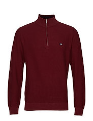 Clay Half Zip Sweater - DARK RED