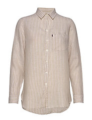 Isa Linen Shirt - BEIGE/WHITE STRIPE