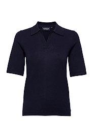Amilia Cotton/Silk Blend Short Sleeve Knitted Polo - DARK BLUE