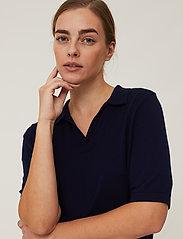 Lexington Clothing - Amilia Cotton/Silk Blend Short Sleeve Knitted Polo - polohemden - dark blue - 4