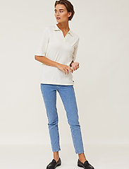 Lexington Clothing - Amilia Cotton/Silk Blend Short Sleeve Knitted Polo - polohemden - offwhite - 0