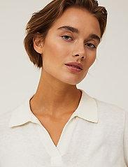 Lexington Clothing - Amilia Cotton/Silk Blend Short Sleeve Knitted Polo - polohemden - offwhite - 4