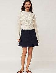 Lexington Clothing - Stella Linen Skirt - korta kjolar - dark blue - 0