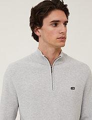 Lexington Clothing - Clay Organic Cotton Half Zip Sweater - half zip - light grey melange - 4
