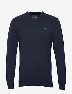 Allen V-Neck Sweater - DARK BLUE