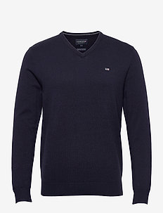 Allen V-Neck Sweater - basic strik - dark blue
