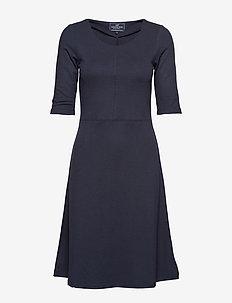 Scarlett U-neck Dress - NAVY BLUE